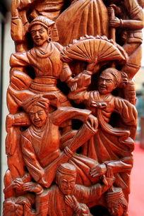 红木雕刻民族团结人物