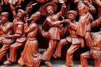 红木雕刻民族团结载歌载舞