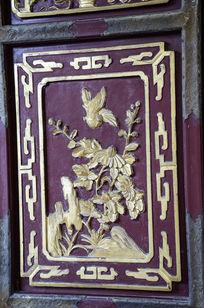 菊花和喜鹊吉祥门雕