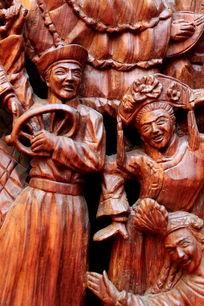 民族团结欢歌跳舞红木雕刻