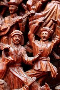 民族团结欢歌跳舞红木雕刻人像