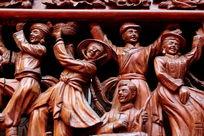 民族团结欢歌跳舞红木雕刻作品