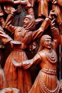 民族团结欢歌跳舞红木人像雕刻