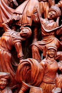 民族团结载歌载舞红木雕刻