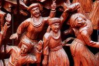 民族团结载歌载舞红木人像雕刻