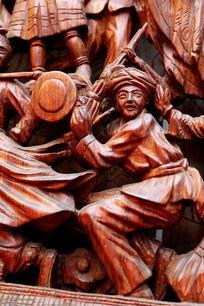 民族团结载歌载舞人物红木雕刻