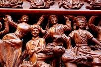 木刻民族团结载歌载舞雕刻