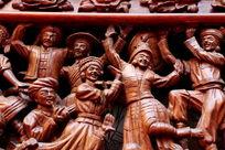木刻民族团结载歌载舞人像雕刻