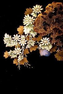 漆画菊花和叶子