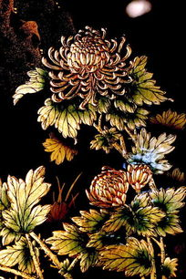 漆画菊花花苞和叶子