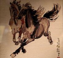 李淑叶绒绣双奔马