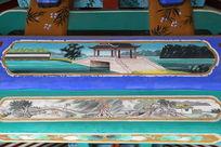 古代石桥和山寨图案线条边框