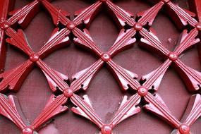 红色木制网格花纹边框线条