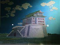 京绣北京正阳门图案刺绣