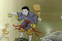 京绣孩童扔铜钱图案刺绣