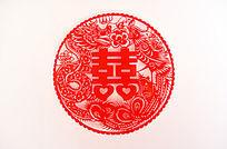 中国结婚双囍剪纸