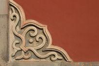 传统的北方照壁花纹石雕