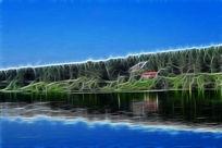 电脑画《湖畔别墅》