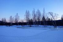 冰封河面树林