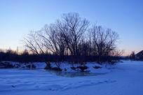 冰封河面树林雪景