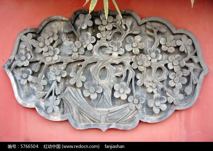 墙壁梅花浮雕图片