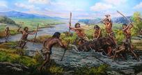 古人类时期的狩猎场景
