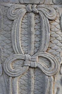 神道石像生铠甲绸带石雕