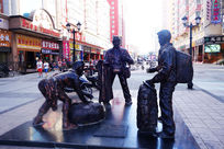 满洲里街头雕塑《中俄民间贸易》