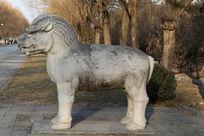 十三陵神道石像生站姿獬豸侧面石雕像
