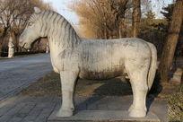 十三陵神道石像生站姿马侧面石雕像