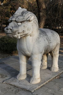十三陵神道石像生站姿獬豸石雕像