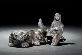 清中铜铸骑犼观音香薰