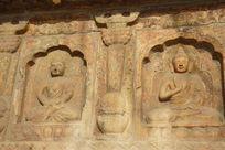 北京五塔寺金刚宝座塔上不同造型的佛像