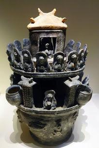 黑釉楼阁佛像陶魂瓶