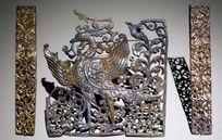 鎏金立凤植物纹银饰