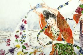 清中瓷画粉彩仙女散花