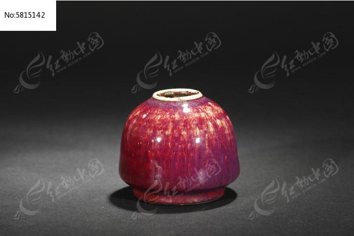 清中祭红笔洗图片