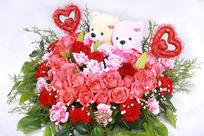 爱心装饰插花