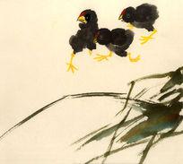 三只雏鸡国画