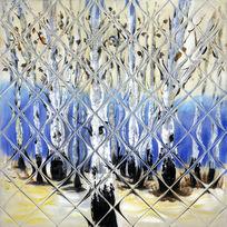 白桦林油画背景墙壁画