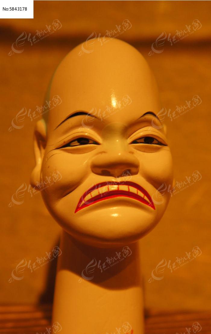 大嘴大眼大耳丑角提线木偶头