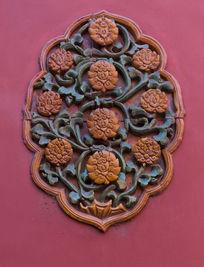 故宫墙壁上的菊花花纹图案