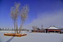 满洲里雪地里的房屋