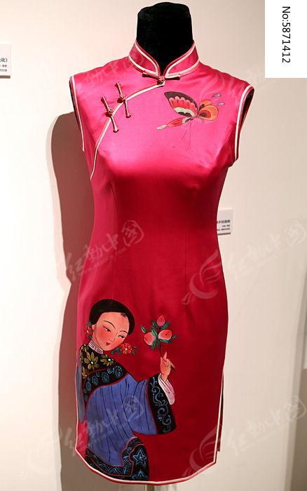 手绘年画旗袍图片