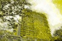 抽象建筑水粉画