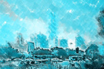 水彩怀旧都市装饰画