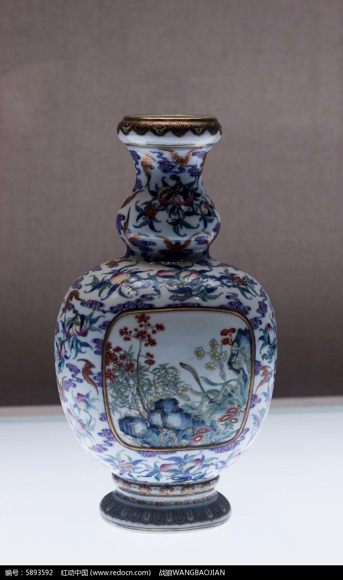 斗彩桃蝠纹葫芦扁瓶图片