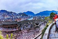 俯拍湘西凤凰古镇