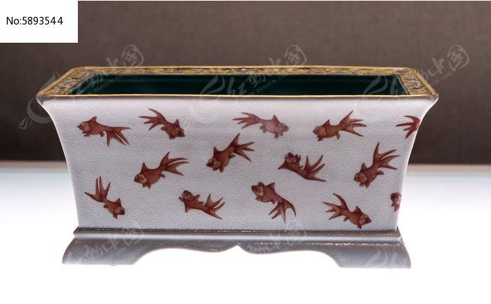红彩金鱼纹长方形花盆