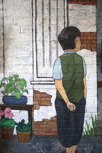 田子坊壁画老上海风情小男孩